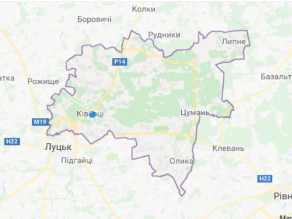 Карта Ківерцівського району