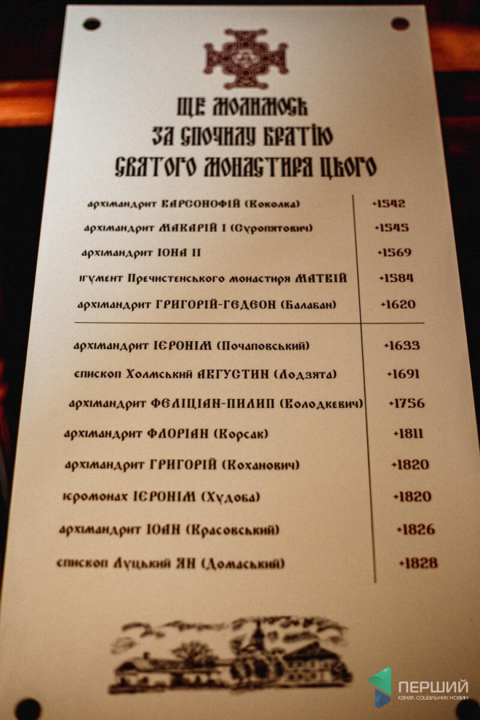 Перелік тих священнослужителів, які померли у Жидичині. Але не доведено, що вони тут поховані